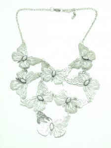 Silver Butterfly Statement Necklace
